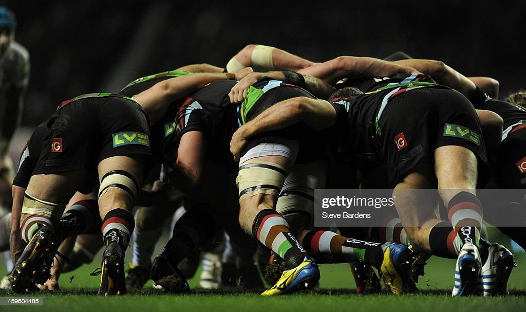 The Harlequins forwards scrummage during the Aviva Premiership match between Harlequins and Exeter Chiefs at Twickenham Stadium on December 28, 2013 in London, England.