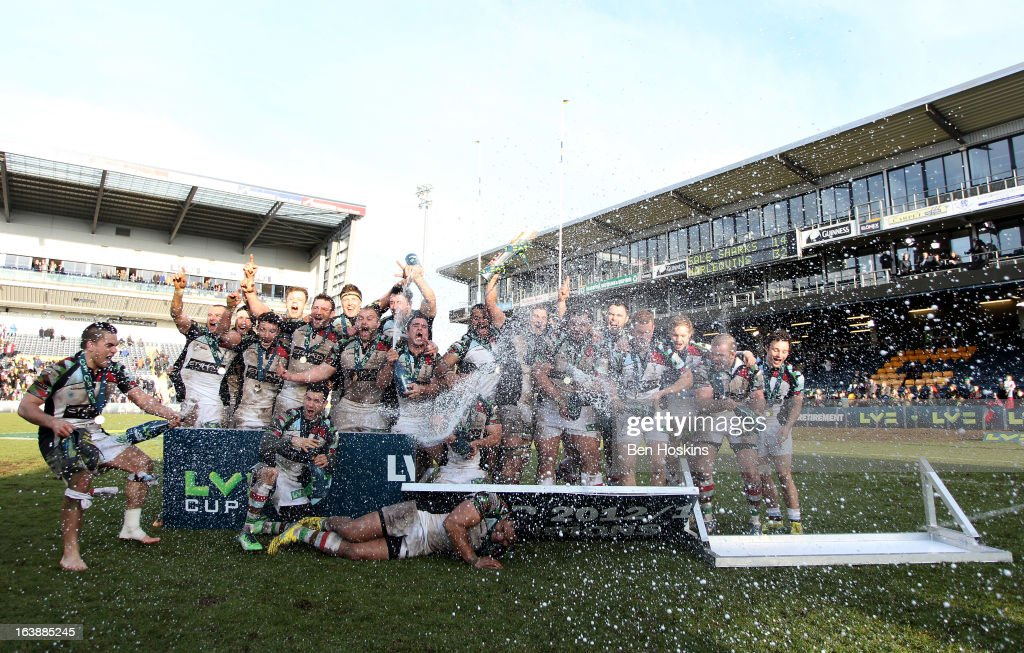 The Harlequins squad celebrate following their victory during the LV= Cup Final between Sale Sharks and Harlequins at Sixways Stadium on March 17, 2013 in Worcester, England.