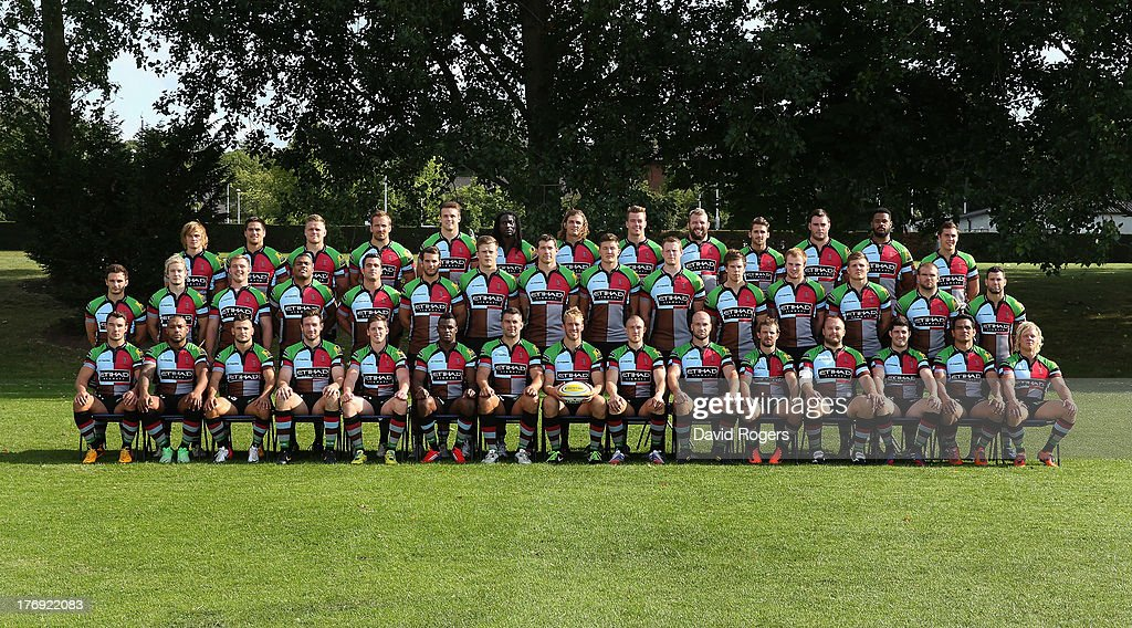 The Harlequins squad pose for a team photograph during the photocall held at Surrey Sports Park on August 19, 2013 in Guildford, England.