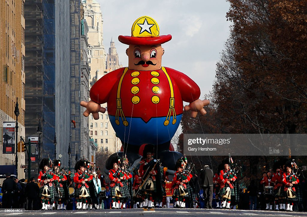 The Harold the Fireman balloon floats down Central Park West in the Macy's Thanksgiving Day Parade in New York November 26 2015