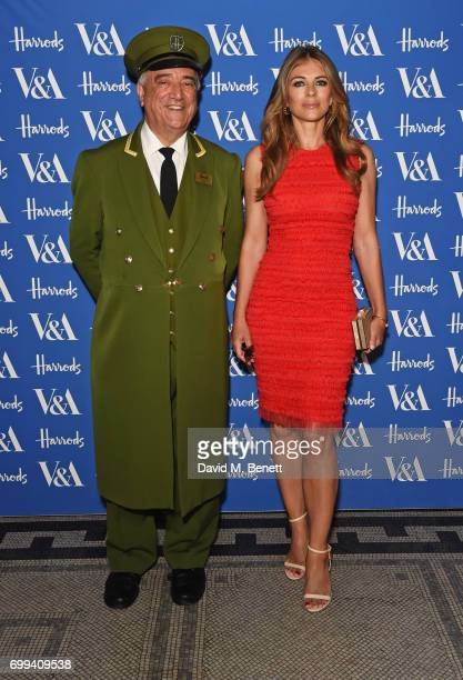 The Harrods Green Man and Elizabeth Hurley attend the 2017 annual VA Summer Party in partnership with Harrods at the Victoria and Albert Museum on...