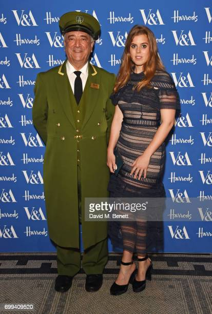 The Harrods Green Man and Princess Beatrice of York attend the 2017 annual VA Summer Party in partnership with Harrods at the Victoria and Albert...