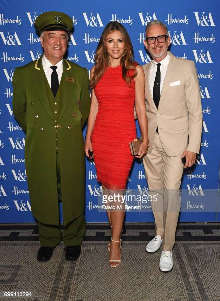 The Harrods Green Man Elizabeth Hurley and Patrick Cox attend the 2017 annual VA Summer Party in partnership with Harrods at the Victoria and Albert...