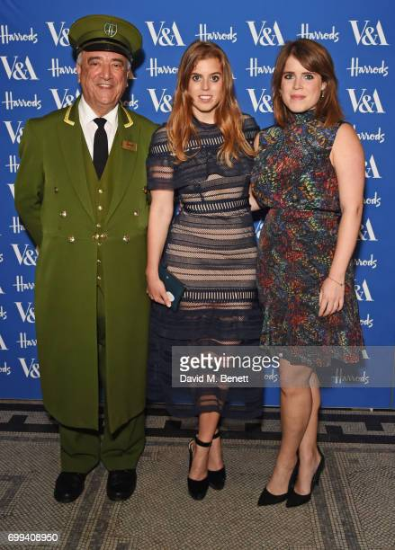 The Harrods Green Man poses with Princess Beatrice of York and Princess Eugenie of York at the 2017 annual VA Summer Party in partnership with...
