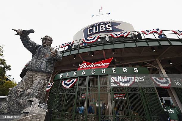 The 'Harry Caray' statue is seen prior to game one of the National League Championship Series between the Chicago Cubs and the Los Angeles Dodgers at...