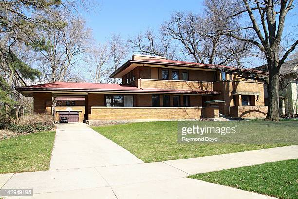The Harry S Adams House and Garage built in 1913 and designed by famed architect Frank Lloyd Wright in Oak Park Illinois on MARCH 17 2012