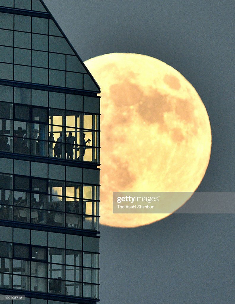 The harvest moon rises near Fukuoka Tower on September 27, 2015 in Fukuoka, Japan. Japanese celebrate the 'harvest moon', or 'mid-autumn moon' on the August 15 on lunar calender. On September 28, the moon will appear as a 'supermoon,' in Japan, the largest full moon of the year, when it makes its closest approach to Earth on its elliptical orbit.