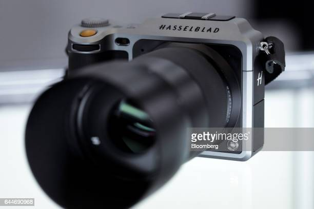 The Hasselblad X1D mirrorless medium format digital camera manufactured by Victor Hasselblad AB sits on display for a photograph at the CP Camera and...
