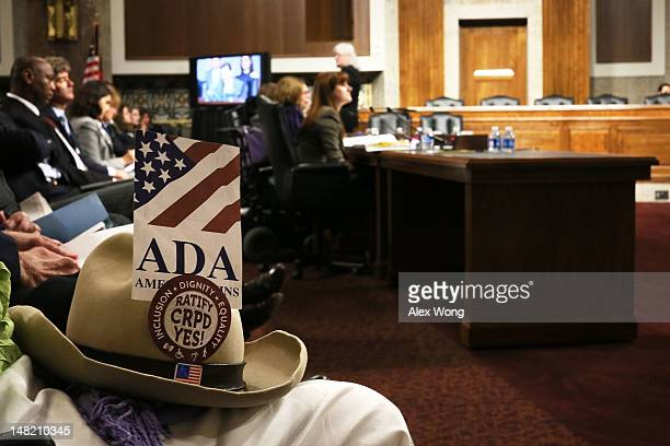 The hat that was belonged to Justin Dart a disability rights advocate who helped to pass the Americans With Disabilities Act of 1990 is seen during a...