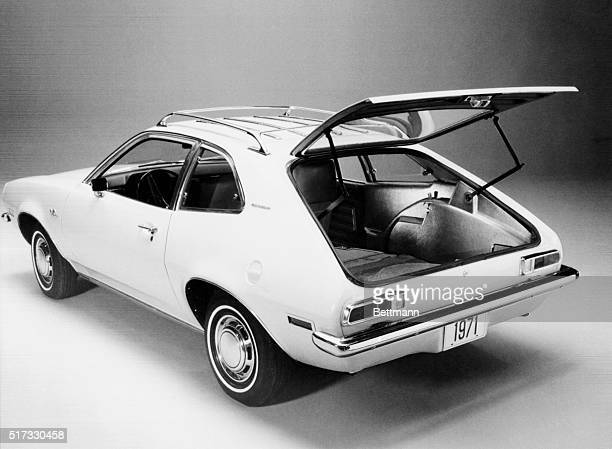 The hatchback door of a Ford Pinto Runabout stands open for a publicity photo shortly before the car's introduction as Ford's new subcompact car at...