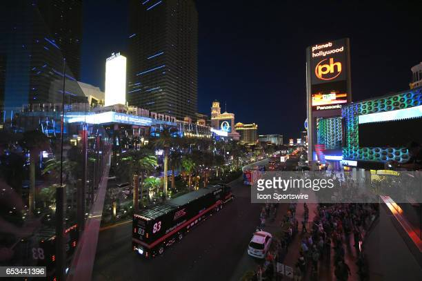 The hauler of Corey LaJoie BK Racing Toyota Camry drives on Las Vegas Blvd for the NASCAR Monster Energy Cup Series Kobalt 400 Hauler Parade on March...