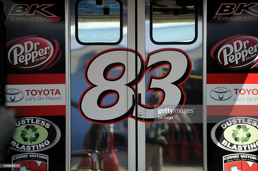 The hauler of Matt DiBenedetto, driver of the #83 Cosmo Motors Toyota, is seen during practice for the NASCAR Sprint Cup Series Go Bowling 400 at Kansas Speedway on May 6, 2016 in Kansas City, Kansas.