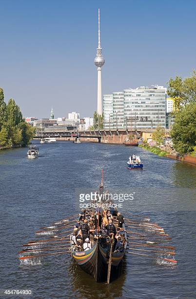 The 'Havhingsten fra Glendalough' ship is paddled on the river Spree in Berlin on September 6 2014 The ship is the is a Danish reconstruction of the...