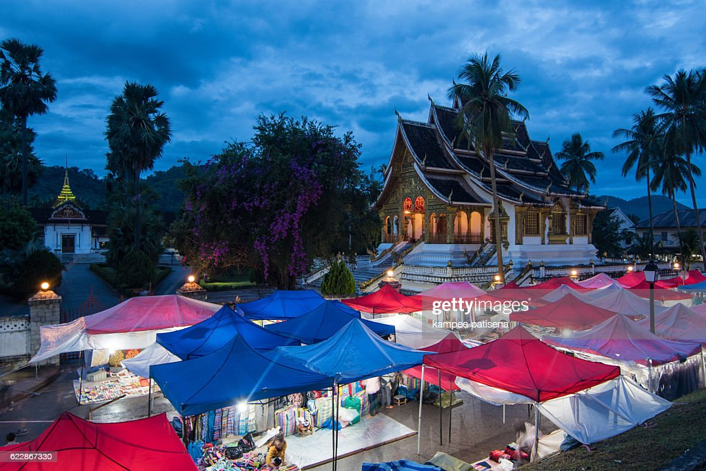 The Haw Pha bang or The royal place with Night market. : Stock Photo