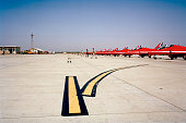 The Hawk jet aircraft of the elite 'Red Arrows' Britain's prestigious Royal Air Force aerobatic team are lined up at RAF Akrotiri Cyprus as members...