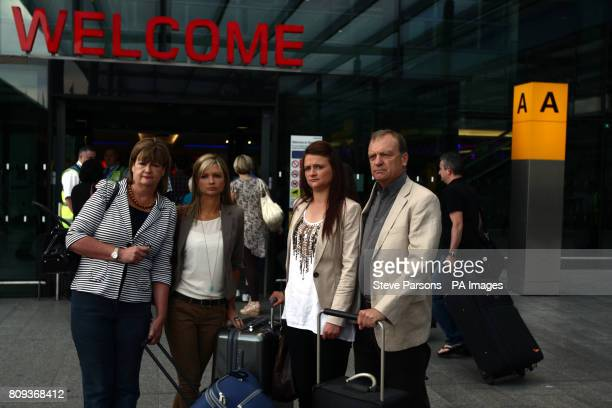 The Hawker family of Lindsay Ann Hawker who was murdered in Japan mother Julia sister Lisa sister Louise and father Bill arrive at Terminal 3 of...
