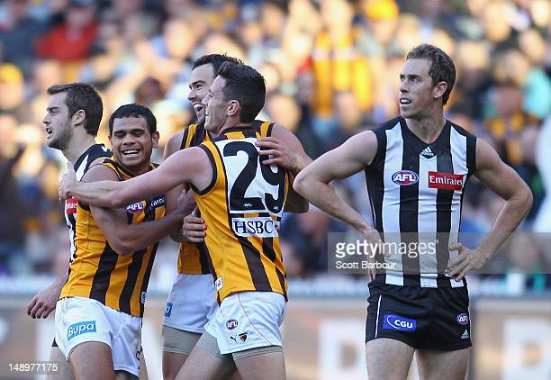 The Hawks celebrate after Jordan Lewis kicked a goal as Magpies captain Nick Maxwell looks on during the round 17 AFL match between the Collingwood...