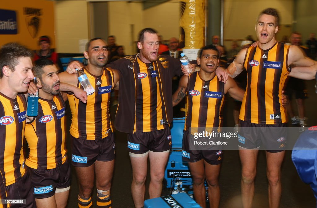 The Hawks celebrate after they defeated the Dockers after the round four AFL match between the Hawthorn Hawks and the Fremantle Dockers at Aurora Stadium on April 20, 2013 in Launceston, Australia.