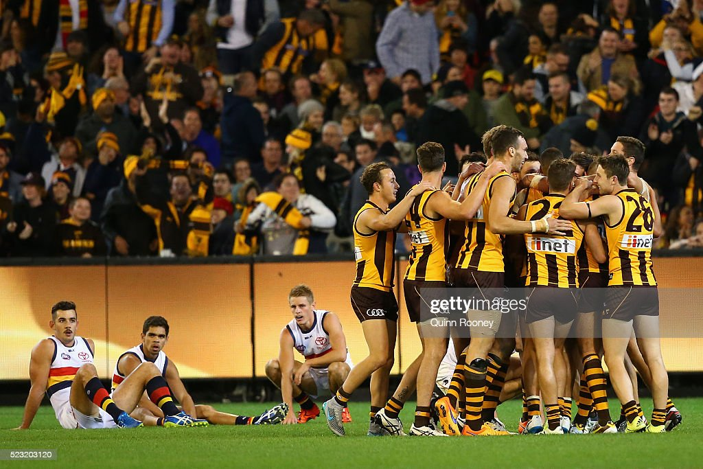 The Hawks celebrate winning the round five AFL match between the Hawthorn Hawks and the Adelaide Crows at Melbourne Cricket Ground on April 22, 2016 in Melbourne, Australia.