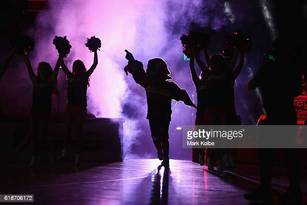 The Hawks mascot runs out onto court during the round four NBL match between the Illawarra Hawks and the Perth Wildcats at the Wollongong...