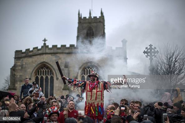 The Haxey Fool Dale Smith delivers his speech during the 'Smoking of the Fool' as he starts the Haxey Hood at Haxey Village on January 6 2017 in...