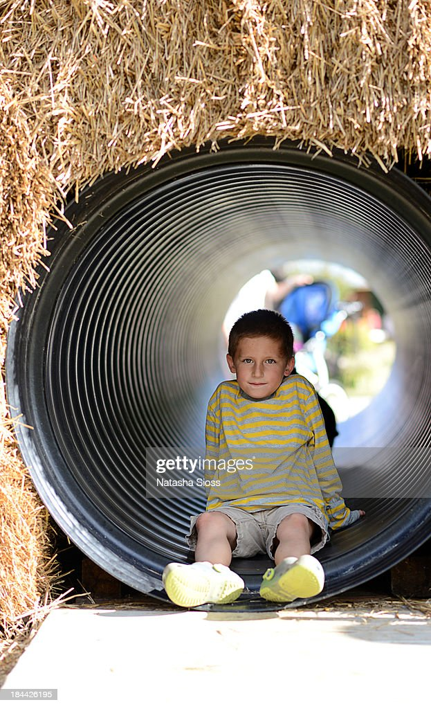 The hay tunnel : Stock Photo