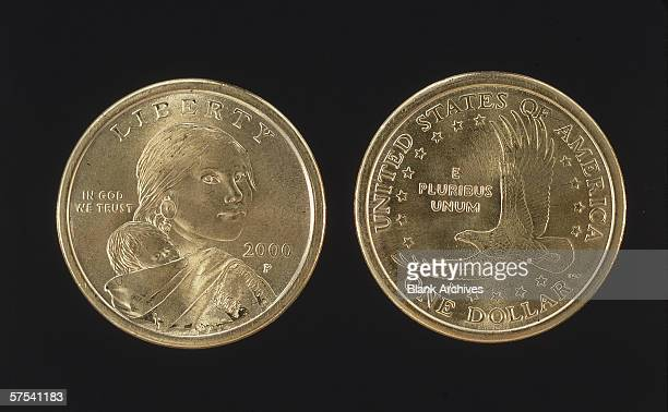 The head and tail sides of the United States dollar coin 2000 The head features the likeness of Sacagawea Native American guide and translator for...
