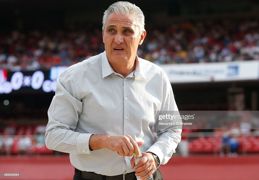 The head coach of Corinthians, Tite in action during the match between Sao Paulo and Corinthians for the Brazilian Series A 2015 at Morumbi stadium on August 09, 2015 in Sao Paulo, Brazil.