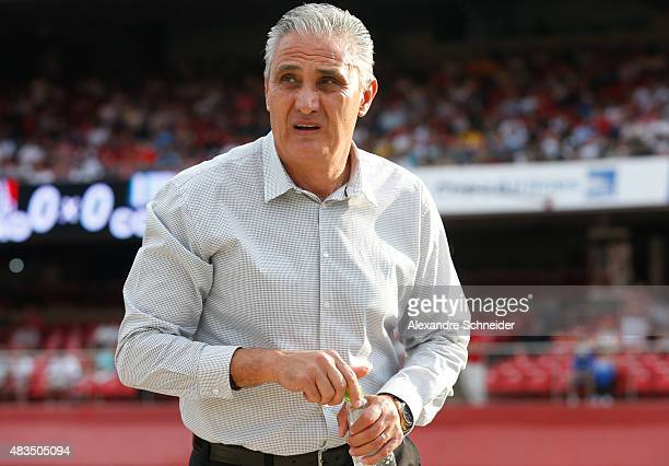 The head coach of Corinthians Tite in action during the match between Sao Paulo and Corinthians for the Brazilian Series A 2015 at Morumbi stadium on...