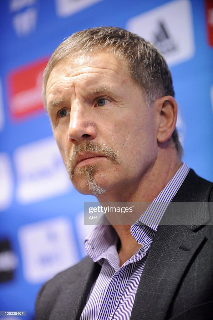 The head coach of the Finnish men's football team Stuart Baxter announces in a press conferance in Helsinki on November 9 2010 that he will step...