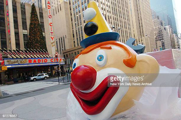 The head of a jackinthebox is ready for installation as part of a holiday display in front of the TimeLife Building across Sixth Ave from Radio City...