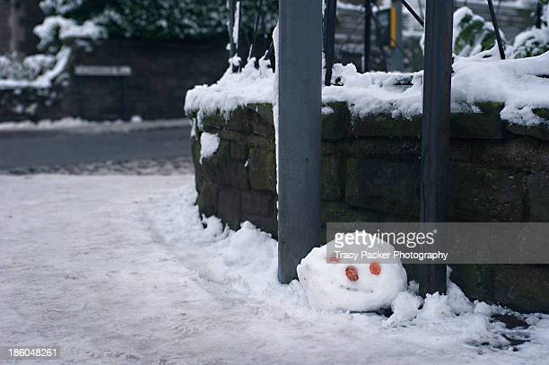 The head of a snowman abandoned on a pavement