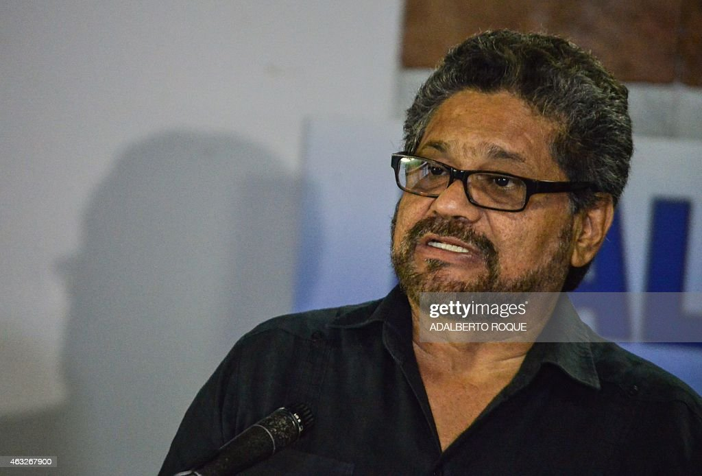 The head of FARC-EP leftist guerrillas delegation, Ivan Marquez reads a statement during the peace talks with the Colombian government at Convention Palace in Havana, on February 12, 2015.
