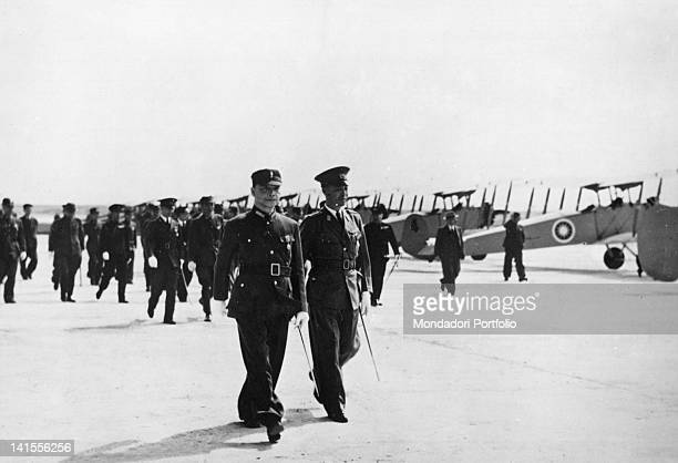 The head of government of Nanjing Wang Jingwei inspects a fighter squadron at a air base on the Chinese front China December 1941