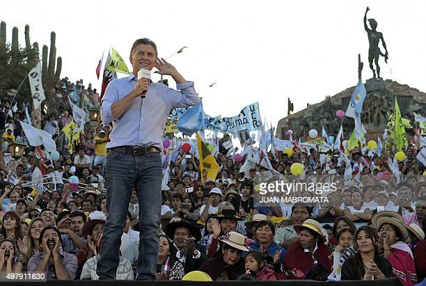 The Head of Government of the Autonomous City of Buenos Aires and presidential candidate for 'Cambiemos' party Mauricio Macri gestures during the...