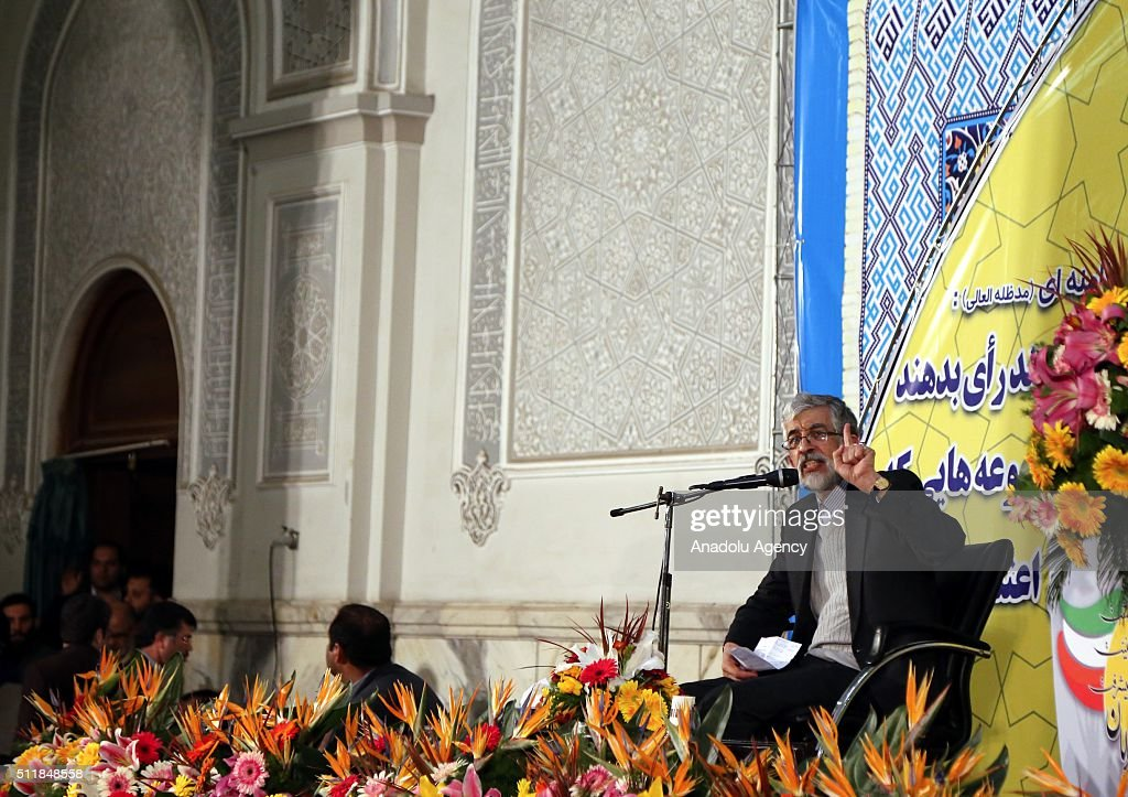 The head of Iran's main conservative parties Gholam Ali Haddad Adel delivers a speech during a meeting ahead of the upcoming parliamentary elections...