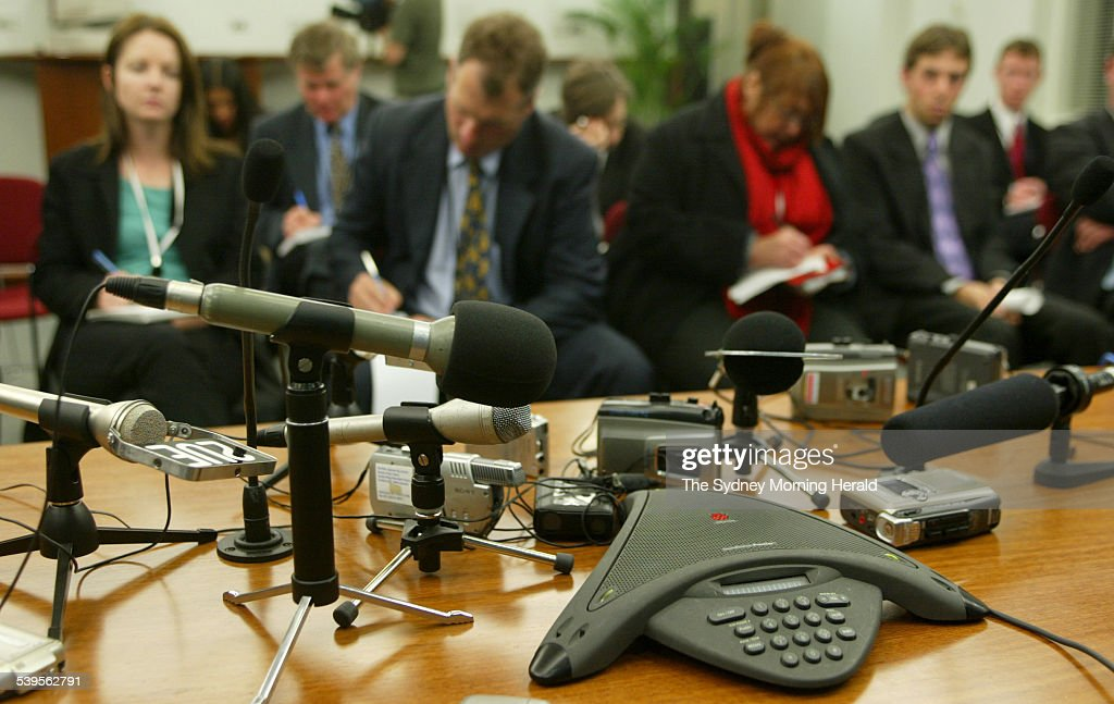 The head of the Australian Government's emergency response team Nick Warner talks to the media from Baghdad via telephone hookup at DFAT in canberra...