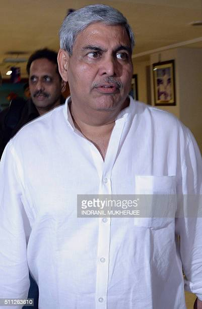 The head of the Board of Control for Cricket in India Shashank Manohar leaves after attending a special meeting at the BCCI headquarters in Mumbai on...