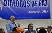 The head of the Colombian delegation for the peace talks with the FARC Humberto de la Calle speaks during a press conference at the Convention Palace...