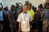 The head of the electoral commission Kwadwo AfariGyan arrives on December 9 2012 to announce results of the December 78 presidential election in...
