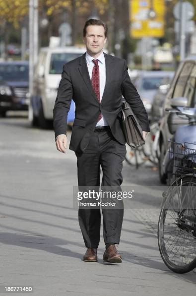 The head of the German governmental press and information agency Steffen Seibert on his way to coalition talks between the CDU CSU and SPD on October...
