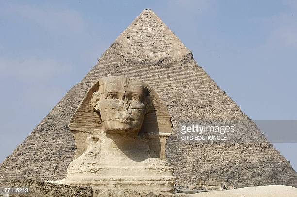 The head of the Great Sphinx is seen against the background of Khafre's pyramid on the Giza Plateau on the outskirts of Cairo 30 September 2007 The...