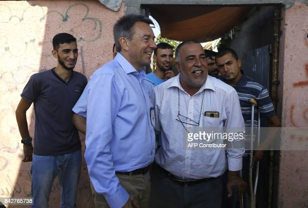 The head of the International Committee of the Red Cross Peter Maurer visits one of the beneficiaries of the ICRC projects in Gaza City on September...
