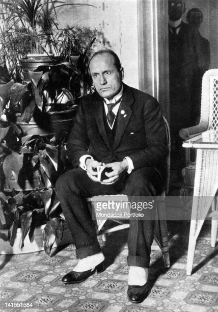 The Head of the Italian Government Benito Mussolini sitting on a wicker chair Italy 1920s