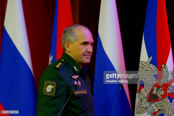 The head of the Main Operational Directorate of the Russian Armed Forces General Staff Lt Gen Sergei Rudskoi holds to the media briefing at the...