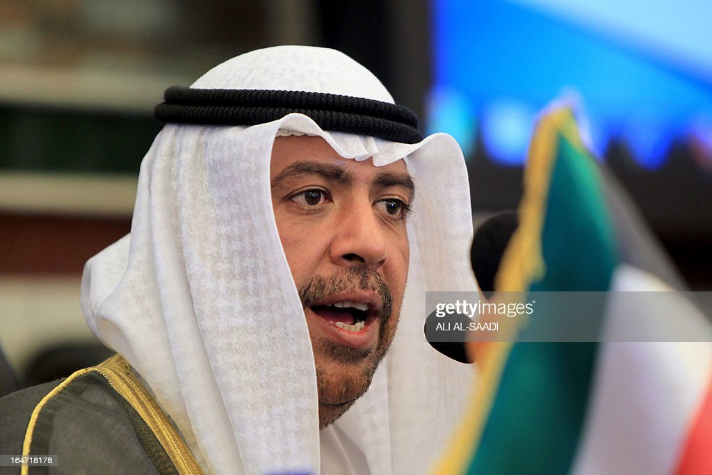 The head of the Olympic Council of Asia, Sheikh Ahmed al-Fahad al-Ahmed al-Sabah, discusses the lifting of the ban on international football matches in Iraq and the progress as Iraq prepares to host the upcoming Arabian Gulf Cup also known as Khaleeji 22 during a press conference in Baghdad on March 27, 2013. AFP PHOTO/ALI AL-SAADI