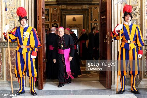 The head of the Opus Dei bishop Javier Echevarria arrives at the Clementina Hall to exchange Christmas greetings with Pope Francis on December 21...