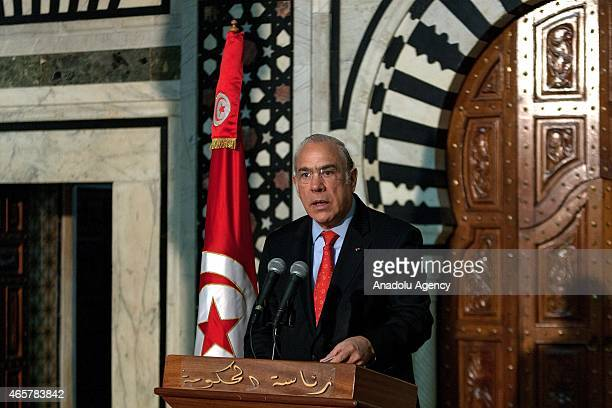 The head of the Organization for Economic Cooperation and Development Angel Gurria holds a press conference following the meeting in Tunis Tunisia on...