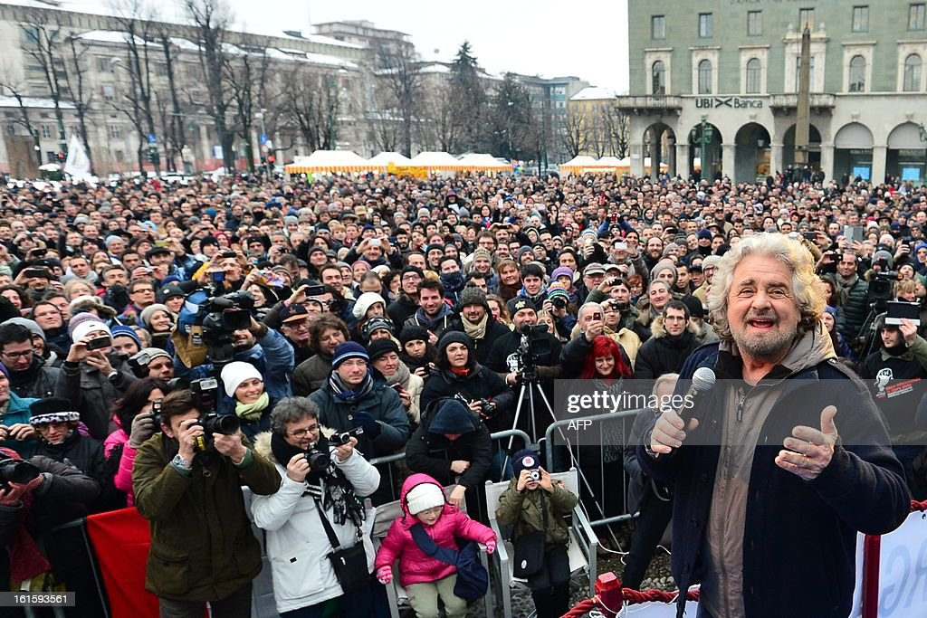 The head of the populist Five Star Movement, comedian Beppe Grillo, whose has been winning votes among those critical of Monti's austerity policy, addresses supporters during a rally on February 12, 2013 in Bergamo, northern Italy. Comedian-turned-politician Beppe Grillo is candidate to the general elections on February 24-25.