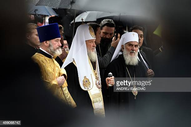 The head of the Russian Orthodox Church Patriarch Kirill and the Serbian Patriarch Irinej attend an unveiling ceremony of the monument of the last...